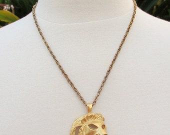 FALL SALE 20% Off Vintage Lion Head Pendant Necklace