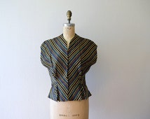 1940s 1950s blouse . vintage striped chevron top