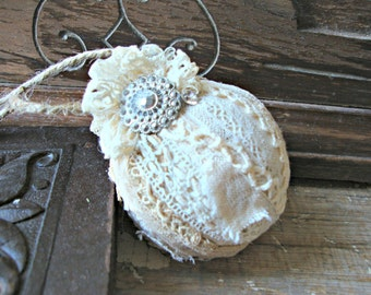 Vintage Lace Tattered Ornament with Vintage Rhinestone