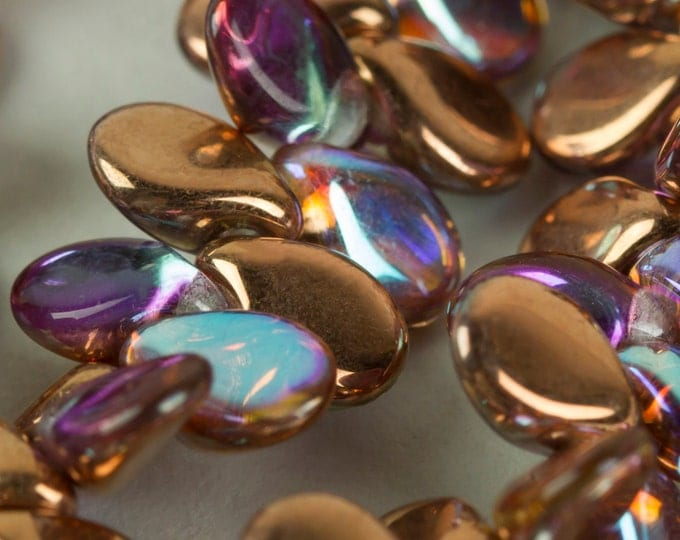 Beads, Czech Glass Pearlized Coated Lentil Copper Pink 35 pieces C2115