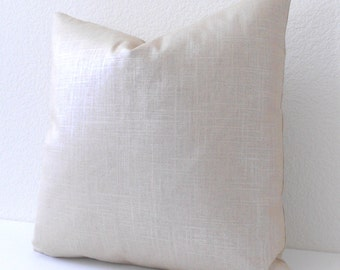 Metallic soft golden cream glazed linen decorative pillow cover
