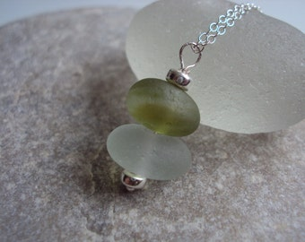 Stacked English Sea Glass Bracelet White And Green