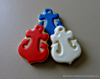 Small sized anchor  Hand decorated sugar cookies for baby showers and other events (#2482)