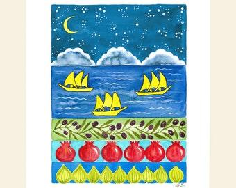 Original painting Mediterrenean art Watercolor gouache illustration Nautical ships sea Olive Pomegranate Fig Cobalt blue night Home decor