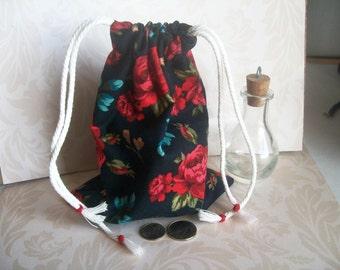Purse,Handbag, Victorian Pocket Purse,Waist Purse,Coin Purse, Jewelry Bag, Keepsakes, Memoirs,Victorian Era, Antique Bag, Vintage Bag, Roses