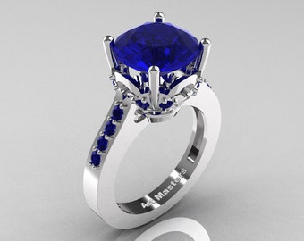 Classic 14K White Gold 3.0 Carat Blue Sapphire Solitaire Wedding Ring R301-14KWGBS