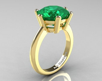 Classic Russian Bridal 14K Yellow Gold 5.0 Carat Emerald Crown Solitaire Ring RR133-14KYGEM