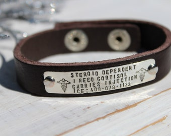 Medical Leather Bracelet- ID Bracelet- Hand Stamped Leather Bracelet- Personalized Bracelet