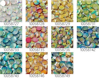 50PCS 20mm Resin Mermaid Cabochons AB Iridescent Mermaids Cabochon 100587