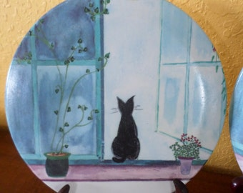 """French BLACK CAT TRIVETS/Pair/Melmac/Made in Italy/Vintage/8"""" Hard Plastic"""