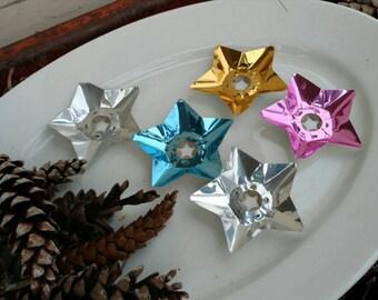 Mid Century Star Christmas Light Reflectors - Mid Century Atomic Holiday Decor, Five Colored Tin Reflectors, Christmas Tree Trimming Stars