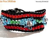 Clearance Sale Seed Bead Wrap - Crystal Wrap Bracelet - Cuff Wrap Bracelet - Leather Cord - Metal Decorative Button
