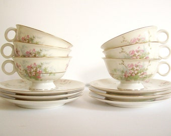 Haviland Tea Set, Cups and Saucers, Vintage Teacups, Apple Blossom, Floral China, Tea Party, Set of 6