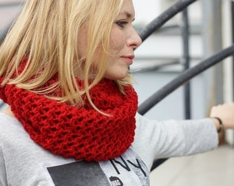 Hand knitted chunky women red cowl spring autumn trends
