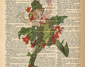 Dictionary Art Print - Holly Berry Dancer - Upcycled Vintage Dictionary Page Poster Print - Size 8x10