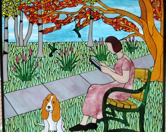 Park Setting, Woman Reading Book, Custom Stained Glass Mosaic Artwork