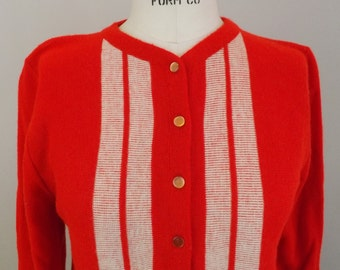 Vintage Red with White Stripes Cardigan Sweater
