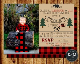 Lumberjack Birthday Invitation / Plaid Flannel Birthday Invitation / Digital Printable File