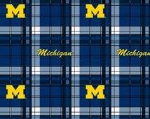 NCAA University of Michigan Wolverines Fleece V3 Fabric by the yard