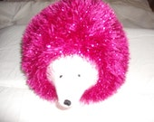 beautiful hand made Tinsel Hedgehog in pink and with a white face