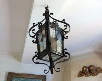 Antique French leaded glass lantern chandelier BIG iron lighting hanging ceiling light lamp, rustic country cottage gothic goth home decor