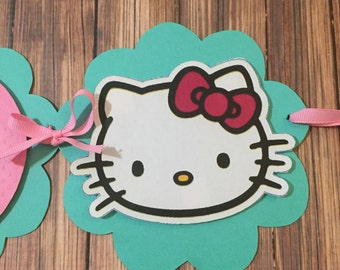 Hello Kitty Inspired Turquoise and Pink Happy Birthday Banner with Or without Name