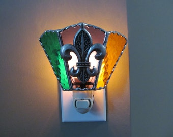 Mardi Gras Colors - Stained Glass Night Light Handcrafted Authentic Stained Glass with Large Fleur de Lis Pewter Emblem