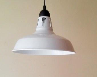 Industrial Pendant Light - 2 Available - Enamel Pendant Light- Farmhouse Pendant Lights