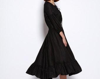 New Linen Dress Sundress Summer Dress in Black - NC698