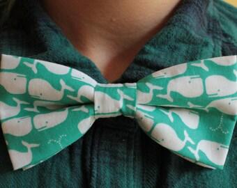 Turquoise Whales bowtie / bow tie - hair bow / hair slide - whale ocean