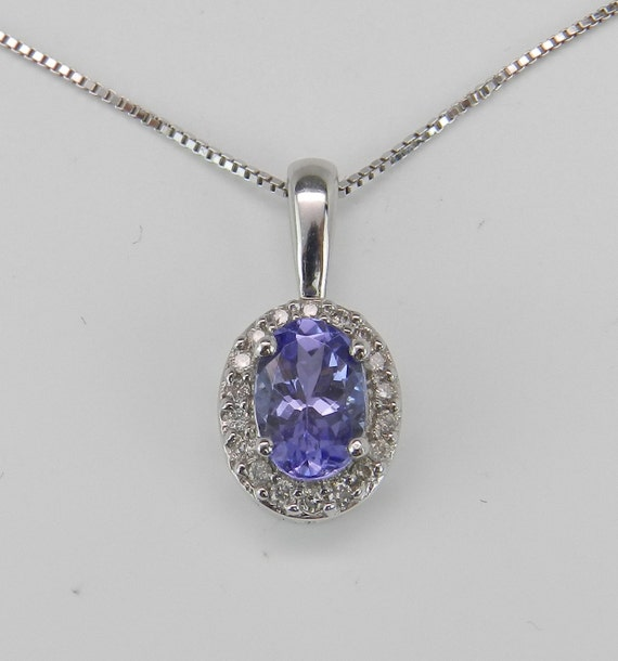 "SALE Diamond and Tanzanite Halo Pendant Necklace 18"" White Gold Chain December Birthstone Gem"