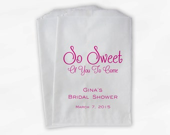 So Sweet To Come Candy Buffet Treat Bags - Personalized Bridal Shower Favor Bags in Hot Pink - 25 Custom Paper Bags (0139)