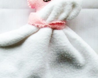 Pink Bunny Baby Comforter, Baby Gift, Softie, Plushie, Lovie, New Born Gift, Rabbit and Blanket, Soft Toys