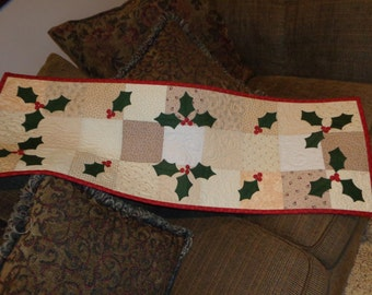 Holly and Berries Runner, Christmas Table Runner Holiday Little Quilt