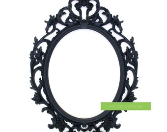 black baroque picture frame oval ornate frame wedding and photo booth signs