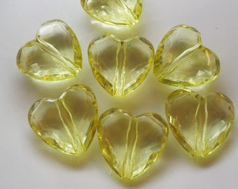24mm. 8CT. Yellow Transparent Heart Bead, D21