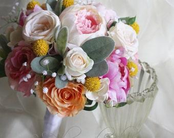 Wedding flowers Silk wedding bouquet. Peonies, roses, billy buttons, lambs ear. Pink, cream & peach. Destination wedding, artificial flowers
