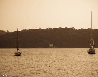 sepia boats in mystic Connecticut photo print photography 11x14