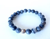 Men's Handmade Natural Gray Marble Stone & Sterling Silver Bead Bracelet.