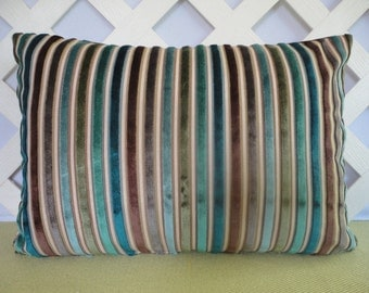 Velvet Stripe Pillow Cover in Blue Brown Olive / Striped Pillow / Velvet Pillow / Blue Brown Pillow / Lumbar Pillow / Accent Pillow