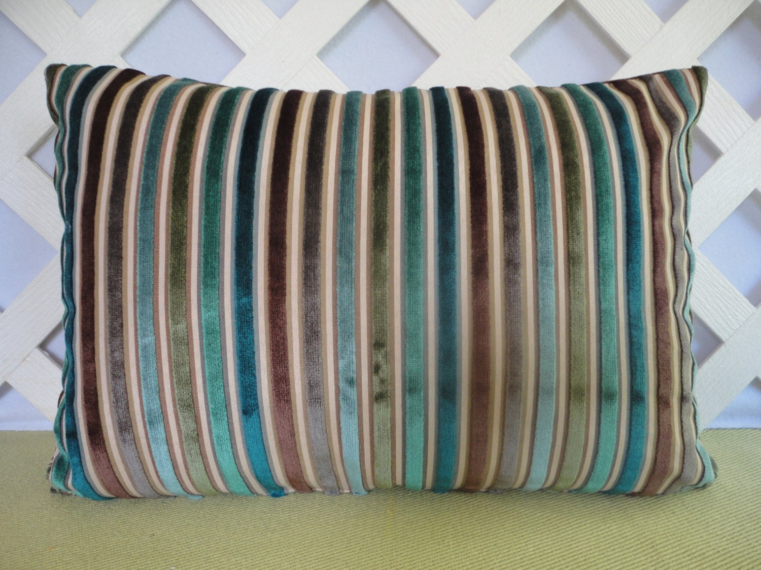 Blue And Brown Decorative Pillow Cover : Velvet Stripe Pillow Cover in Blue Brown Olive / Striped