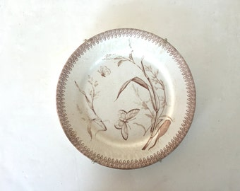 Antique brown transferware plate