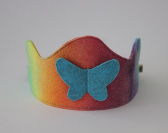 Rainbow Felt Crown with Blue Butterfly, Waldorf Birthday Crown