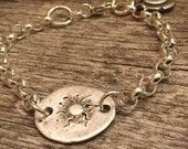 Heavy Chain Link Bracelet - Hand forged Fine Silver Charms- Raw Silver  - Artisan Sterling Silver Bracelet