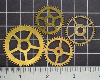 Mixed Lot of 4 Brass Clock Gears, Antique Clock Mechanism Gears, Vintage Clockwork Wheels, Cogs Steampunk Art Supplies 03982