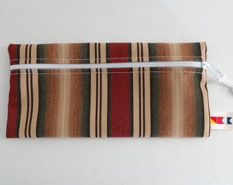 Sunbrella Weston Ginger Zippered Pouch, Cosmetic Bag, Pencil Case, Bridesmaid Gift, Zippered Catch All Bag, Striped Canvas Pouch