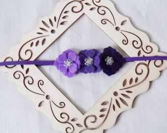 Purple Tiny Flower Felt Flower Headband, Ombre Gradient