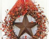 READY To SHIP - On SALE - Fall Wreath - Pumpkin Wreaths - Pumpkin Rusty Star Berry Wreath - Primitive Star Wreaths - Pip Berry Wreath