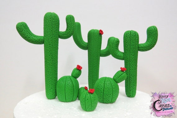 Cactus Cake Topper by KrazyKoolCakeDesigns on Etsy