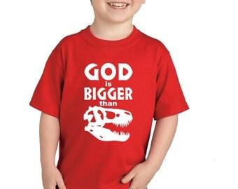 God Is Bigger than Dinosaurs Children's Clothing, Kids Clothing, Toddler Shirt, Red Shirt, Christian Shirt, Christian Clothing, T-Rex, Dino